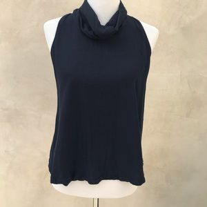 Free People Navy Backless Mock Neck Top GUC